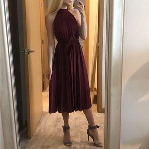 ASOS Red wine high neck evening dress